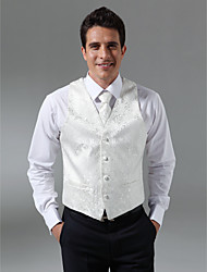 Custom Made Single Breasted Four-button Collarless Regular Length Groom Vest