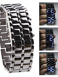 Unisex Blue LED Lava Style Black Steel Band Wrist Watch Cool Watch Unique Watch