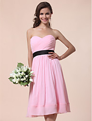 Knee-length Chiffon Bridesmaid Dress-Plus Size / Petite A-line / Princess Strapless / Sweetheart
