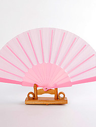 Pink Silk Hand Fans (set of 6)