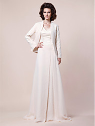 LAN TING BRIDE A-line Plus Size Petite Mother of the Bride Dress - Wrap Included Sweep / Brush Train Long Sleeve Chiffon Satin with