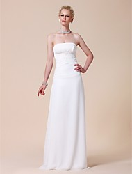 Lanting Sheath/Column Plus Sizes Wedding Dress - White Floor-length Strapless Chiffon