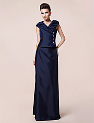 Sheath/Column Plus Sizes / Petite Mother of the Bride Dress - Dark Navy Floor-length Short Sleeve Taffeta