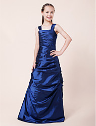 Floor-length Taffeta Junior Bridesmaid Dress A-line / Princess Straps Natural with Side Draping / Ruching