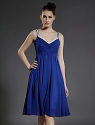 TS Couture® Cocktail Party Dress - Royal Blue Plus Sizes / Petite A-line / Princess V-neck / Spaghetti Straps Knee-length Chiffon