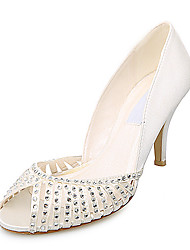 Elegant Satin Upper Stiletto Heel Peep Toe With Rhinestone Wedding Bridal Shoes