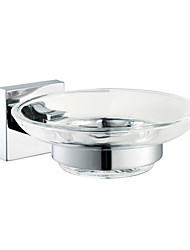 Clear Glass Soap Dish With Chrome Holder