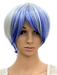 sem tampa resistente ao calor azul peruca festa fantasia misturada branca