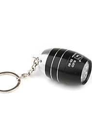 Barrel Shape 6pcs Superbright LED Flashlight KeyChain Unique Design Black
