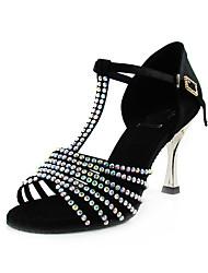 alta qualidade espetáculo de dança latina de cetim com cristal superior sapatos para mulheres