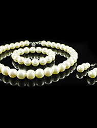 Gorgeous Imitation Pearl Wedding Bridal Jewelry Set Including Necklace Bracelet And Earrings