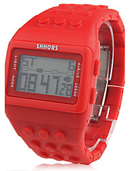 Unisex Block Bricks Design Band Digital LCD Wrist Watch (Red) Cool Watches Unique Watches