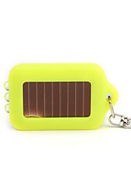 Solar Powered White Light LED and UV 3-LED Keychain Flashlight (Yellow)
