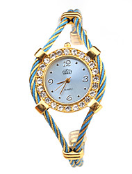 Quartz Watch with Metal Rope Watch Strap - Blue