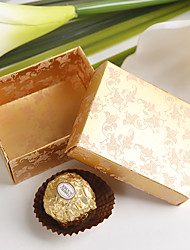 12 Piece/Set Favor Holder - Cuboid Pearl Paper Favor BoxesSquare Damask Print