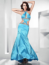 Trumpet/ Mermaid Jewel Floor-length Stretch Satin Evening Dress