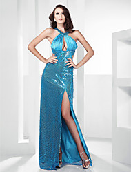 Sheath/Column Jewel Floor-length Sequined Evening Dress