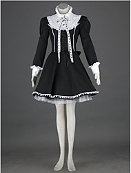 Long Sleeve Knee-length Black Cotton Polyester Lolita Outfit