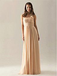 A-Line Halter Floor Length Chiffon Bridesmaid Dress with Draping Ruffles Pleats Ruching by LAN TING BRIDE®