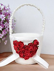 Flower Basket With Rose Heart Flower Girl Basket