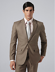 Custom Made Single Breasted Two-button Notch Lapel No-vented Brown Stripe Groom Suit