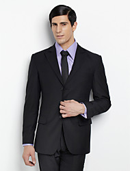 Custom Made Single Breasted Three-button Peak Lapel Side-vented Black Groom Suit