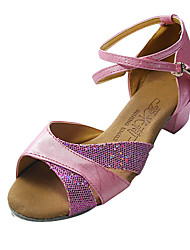 Non Customizable Women's/Kids' Dance Shoes Latin/Ballroom Leatherette/Sparkling Glitter Flat Heel Silver/Pink