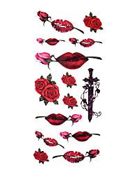 5 pcs rosa tatuagem temporária à prova de água (18,5 centímetros * 9cm)