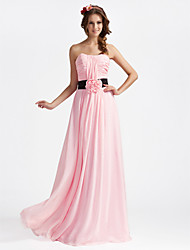 Floor-length Chiffon Bridesmaid Dress - Blushing Pink Plus Sizes A-line/Princess Strapless