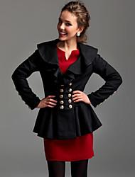 ts lapela ruffle jaqueta mistura de lã
