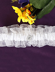 White Organza and Satin Rose Bridal Garter