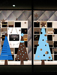 Christmas Decoration Wall Stickers Holiday Ornaments Trees in Blue