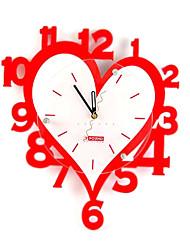 coeur rouge Horloge murale mute