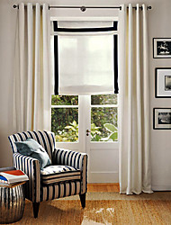 Two Panels Modern Solid Off-white Living Room Linen Cotton Blend Panel Curtains Drapes