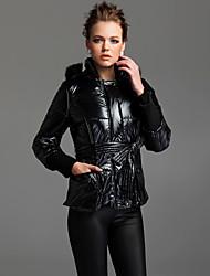 Women's Black Down Coat , Casual Long Sleeve