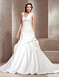 lanting novia una línea / princesa pequeña / más el tamaño de vestido de boda del tren-Capilla