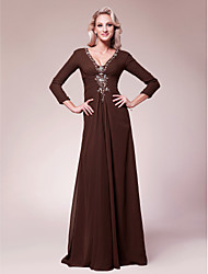 LAN TING BRIDE A-line Plus Size Petite Mother of the Bride Dress - Sexy Floor-length 3/4 Length Sleeve Chiffon with Beading Side Draping