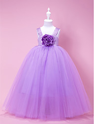 LAN TING BRIDE A-line Ball Gown Princess Floor-length Flower Girl Dress - Satin Tulle Square Straps with Draping Flower(s)