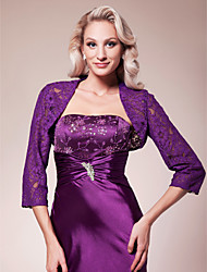 Wedding  Wraps Coats/Jackets 3/4-Length Sleeve Lace Grape Wedding / Party/Evening Lace Sleeves Lace Open Front No