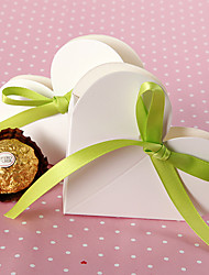 Heart Shaped Favor Box In White With Green Ribbon (Set of 12)