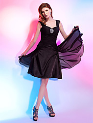 Homecoming Cocktail Party Dress - Black Plus Sizes A-line/Princess Straps/Sweetheart Knee-length Chiffon