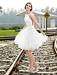 Lanting Bride® A-line / Princess Petite / Plus Sizes Wedding Dress - Chic & Modern / Reception See-Through Wedding Dresses Knee-length