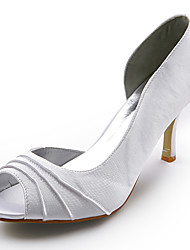 Spring / Summer / Fall Peep Toe Satin Wedding Stiletto Heel Ruched Black / Red / Ivory / White / Silver / Gold