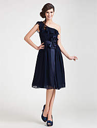 Lanting Knee-length Chiffon Bridesmaid Dress - Dark Navy Plus Sizes / Petite A-line / Princess One Shoulder