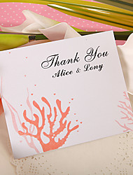 Thank You Card - Coral (Set of 50)