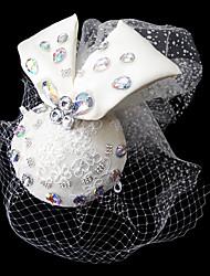 tule e cetim headpiece casamento com redes e strass