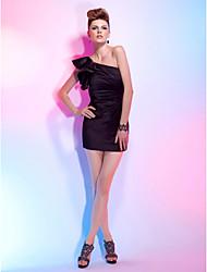 Cocktail Party Dress - Black Plus Sizes Sheath/Column One Shoulder Short/Mini Satin