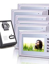Six 7 Inch Color TFT LCD Video Door Phone Intercom System (1 Plastic Camera)