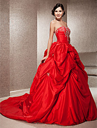 Lanting Ball Gown Plus Sizes Wedding Dress - Ruby (color may vary by monitor) Chapel Train Strapless Taffeta