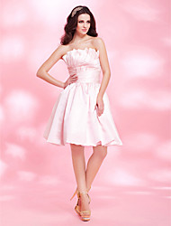Cocktail Party / Sweet 16 Dress - Short Plus Size / Petite A-line / Ball Gown / Princess Strapless Knee-length Satin withDraping / Side